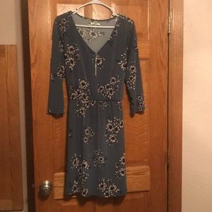 Blue dress with purple flowers